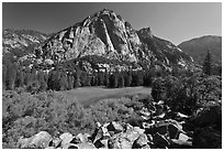 Zumwalt Meadow and North Dome in spring. Kings Canyon National Park ( black and white)