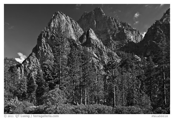 Avalanche Peak and Grand Sentinel raising from Cedar Grove valley. Kings Canyon National Park (black and white)