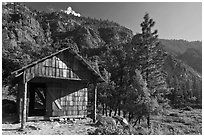 Knapps Cabin. Kings Canyon National Park, California, USA. (black and white)