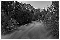 South Forks of the Kings River flowing at dusk. Kings Canyon National Park, California, USA. (black and white)