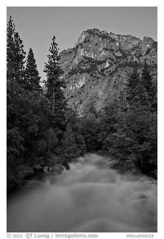 Roaring River flowing at dusk. Kings Canyon National Park (black and white)