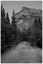 Roaring River flowing at dusk. Kings Canyon National Park, California, USA. (black and white)