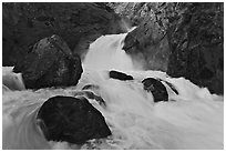 Roaring River Falls in spring. Kings Canyon National Park, California, USA. (black and white)
