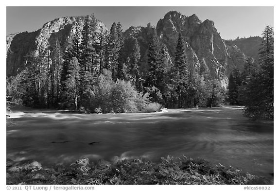 Kings River flowing at the base of high cliffs. Kings Canyon National Park (black and white)