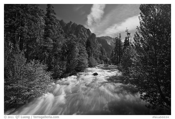 South Forks of the Kings River flowing through valley, Cedar Grove. Kings Canyon National Park (black and white)