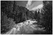 South Forks of the Kings River flowing through valley, Cedar Grove. Kings Canyon National Park ( black and white)