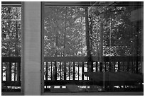 South Forks of the Kings River, Cedar Grove Lodge window reflexion. Kings Canyon National Park, California, USA. (black and white)