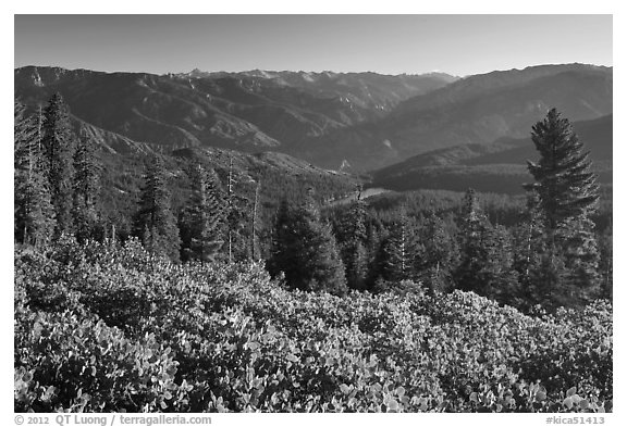 View over Hume Lake and Sierra Nevada from Panoramic Point. Kings Canyon National Park (black and white)