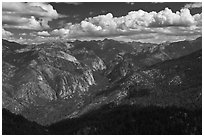 Cedar Grove Valley view and clouds. Kings Canyon National Park, California, USA. (black and white)
