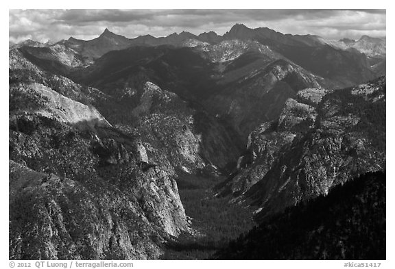 Glacial valley from above, Cedar Grove. Kings Canyon National Park (black and white)