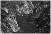 Valley carved by glaciers from above, Cedar Grove. Kings Canyon National Park ( black and white)