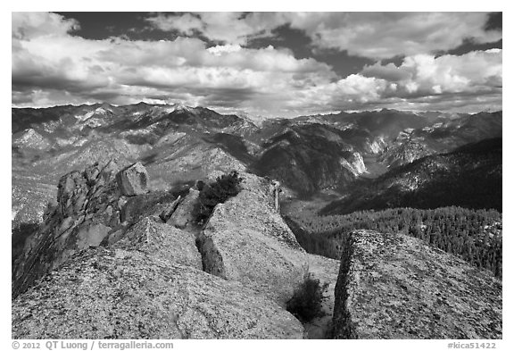 View from  top of Lookout Peak. Kings Canyon National Park (black and white)