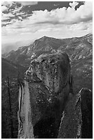 Outcrops and canyon of the Kings river. Kings Canyon National Park, California, USA. (black and white)