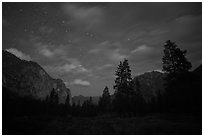 Cedar Grove valley at night. Kings Canyon National Park, California, USA. (black and white)