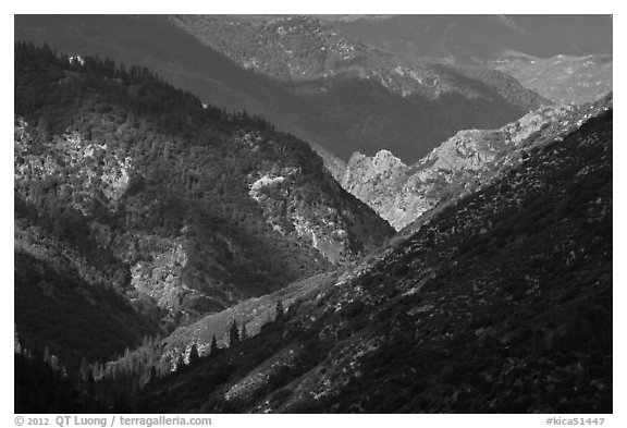 Canyon of the South Forks of the Kings River. Kings Canyon National Park (black and white)