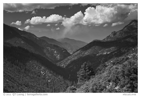 South Forks of the Kings River valley. Kings Canyon National Park (black and white)