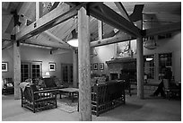 John Muir Lodge lounge. Kings Canyon National Park, California, USA. (black and white)
