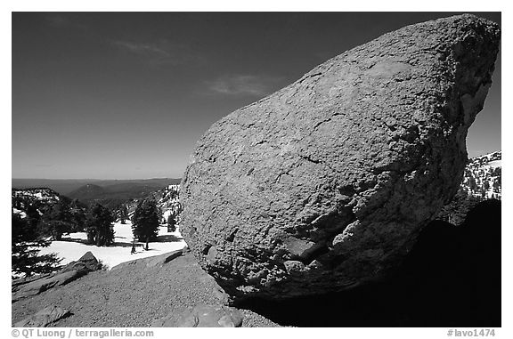 Glacial erratic rock. Lassen Volcanic National Park (black and white)
