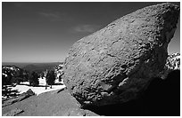 Glacial erratic rock. Lassen Volcanic National Park, California, USA. (black and white)