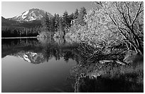 Manzanita lake and Mount Lassen in spring, morning. Lassen Volcanic National Park, California, USA. (black and white)