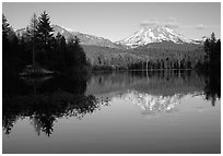 Manzanita lake and Mount Lassen in early summer, sunset. Lassen Volcanic National Park, California, USA. (black and white)