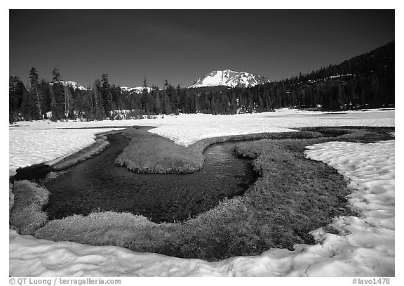 Stream in partly snow-covered Kings Creek meadows, morning. Lassen Volcanic National Park (black and white)