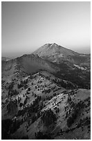 Mt Diller, Pilot Pinnacle, and Lassen Peak from Brokeoff Mountain, sunset. Lassen Volcanic National Park, California, USA. (black and white)