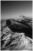 Mt Diller, Pilot Pinnacle, and Lassen Peak from Brokeoff Mountain, late afternoon. Lassen Volcanic National Park, California, USA. (black and white)