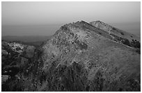 Brokeoff Mountain, dusk. Lassen Volcanic National Park, California, USA. (black and white)