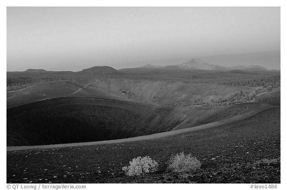 Crater at top of Cinder cone, dawn. Lassen Volcanic National Park (black and white)