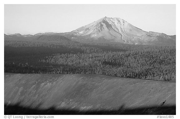 Top of Cinder cone and Lassen Peak, sunrise. Lassen Volcanic National Park (black and white)