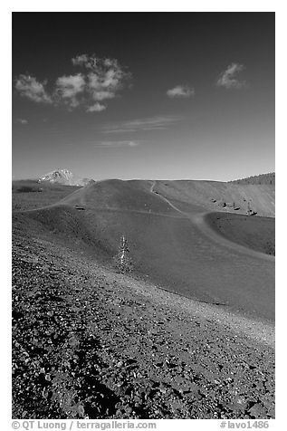 Barren cinder slopes in cone. Lassen Volcanic National Park (black and white)