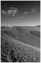 Barren cinder slopes in cone. Lassen Volcanic National Park ( black and white)