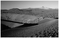 Cinder cone crater and Lassen Peak, early morning. Lassen Volcanic National Park, California, USA. (black and white)