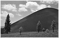 Cinder cone. Lassen Volcanic National Park, California, USA. (black and white)