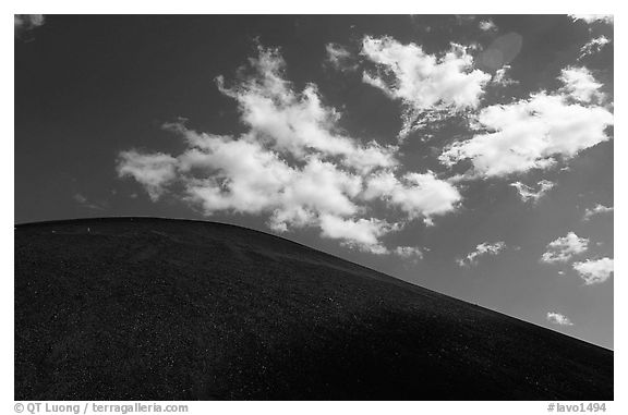 Smooth cinder cone profile and clouds. Lassen Volcanic National Park (black and white)