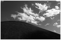 Smooth cinder cone profile and clouds. Lassen Volcanic National Park ( black and white)