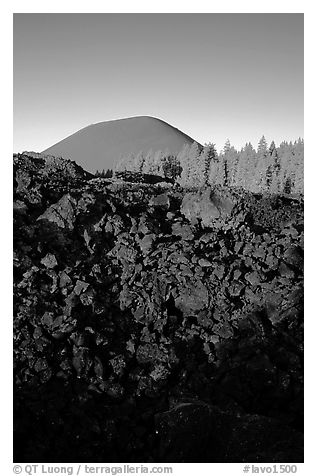 Fantastic lava beds and cinder cone, sunrise. Lassen Volcanic National Park (black and white)