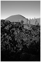 Fantastic lava beds and cinder cone, sunrise. Lassen Volcanic National Park ( black and white)