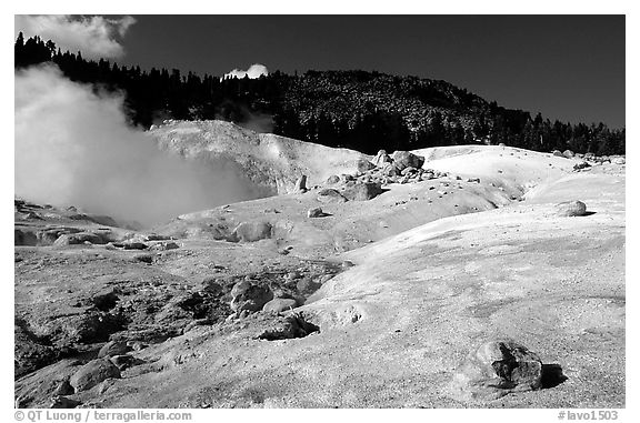 Colorful deposits in Bumpass Hell thermal area. Lassen Volcanic National Park (black and white)