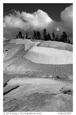 Colorful deposits in Bumpass Hell thermal area, early summer. Lassen Volcanic National Park (black and white)