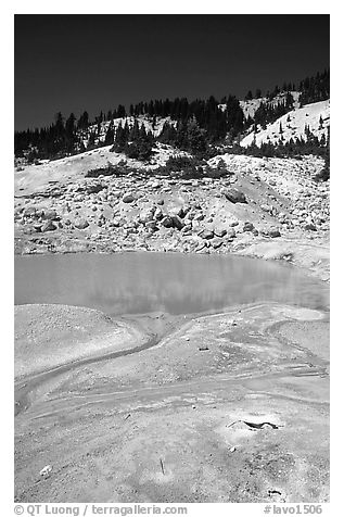 Thermal pool in Bumpass Hell thermal area. Lassen Volcanic National Park (black and white)