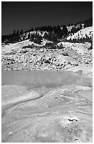 Thermal pool in Bumpass Hell thermal area. Lassen Volcanic National Park ( black and white)