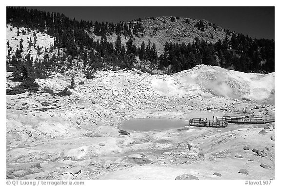 Colorful deposits and turquoise pool in Bumpass Hell thermal area. Lassen Volcanic National Park (black and white)