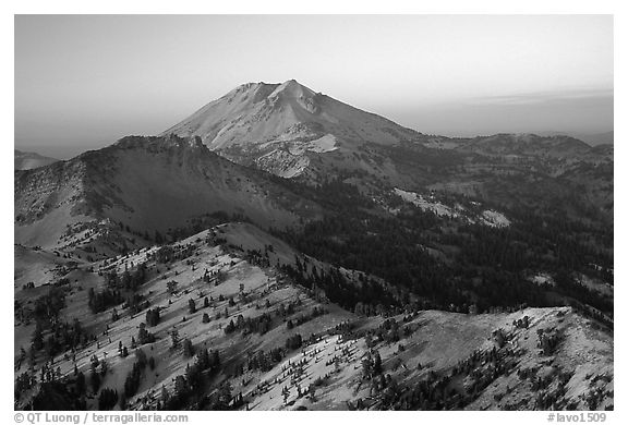 Lassen Peak ridge at sunset. Lassen Volcanic National Park (black and white)