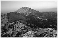 Lassen Peak ridge at sunset. Lassen Volcanic National Park, California, USA. (black and white)