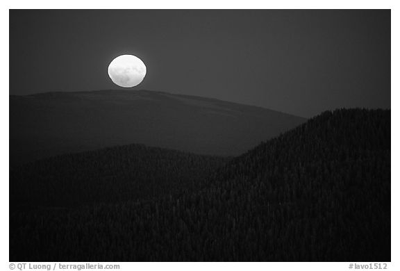 Moonrise from Prospect Peak. Lassen Volcanic National Park (black and white)