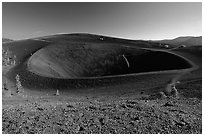 Crater on top of cinder cone. Lassen Volcanic National Park, California, USA. (black and white)
