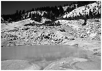 Turquoise pool in Bumpass Hell thermal area. Lassen Volcanic National Park ( black and white)