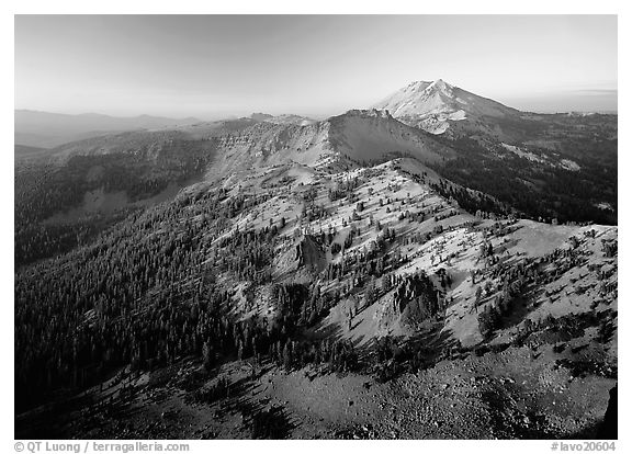 Chain of mountains around Lassen Peak, late afternoon. Lassen Volcanic National Park (black and white)
